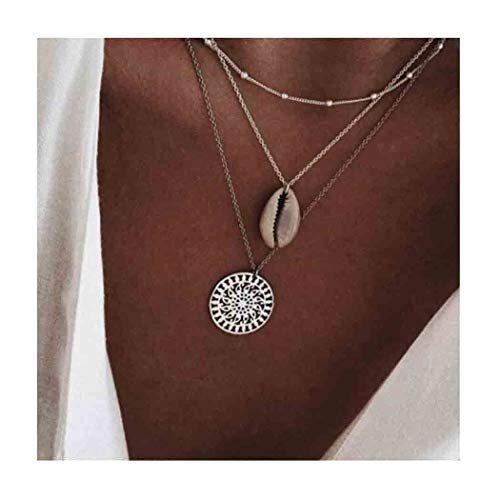 Edary Boho Shell Necklace Hollow Pendant Beaded Necklace Silver Jewelry Accessories for Women and Girls. ()