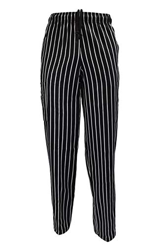 - M&M SCRUBS Solid Black Classic Chef Pants (Chalk Stripe, S)