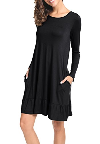 LAINAB Womens Fall Plain Solid Long Sleeve Loose Swing Casual Dress Black XL