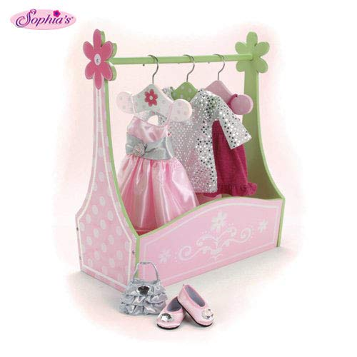 Sophia's Doll Dress Rack and Set of Hangers, Hand Painted, 18-Inch