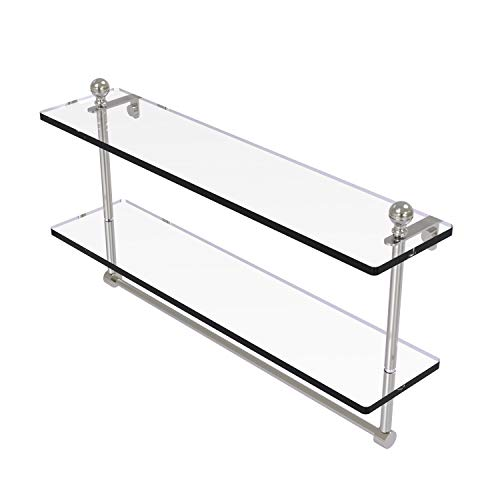 Allied Brass MA-2/22TB Mambo Collection 22 Inch Two Tiered Integrated Towel Bar Glass Shelf, Satin Nickel