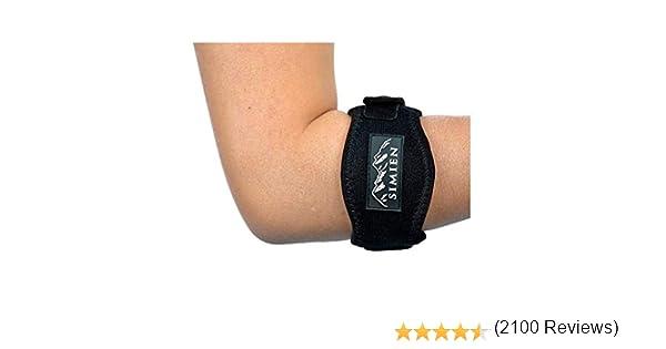 Refuerzo para el codo de tenista de Simien (2 unidades), alivia el dolor del codo de los tenistas y golfistas con una almohadilla de compresión, muñequera y libro electrónico: Amazon.es: Deportes y