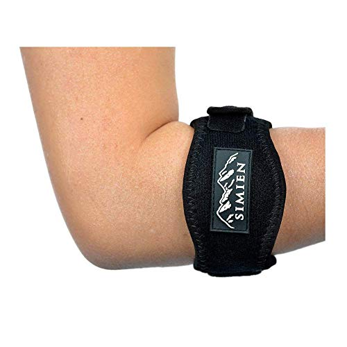 (Simien Tennis Elbow Brace (2-Count), Tennis & Golfer's Elbow Pain Relief with Compression Pad, Wrist Sweatband and E-Book )