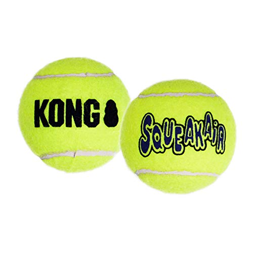 KONG – Squeakair Balls – Pelotas de Tenis sonoras Que respetan Sus Dientes – para Perros de Raza Grande (Pack de 2)