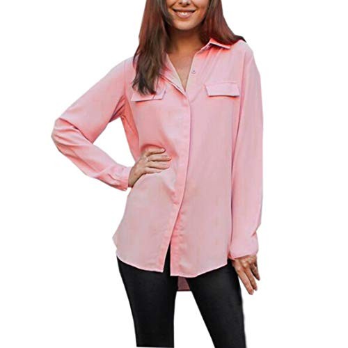 Pulsante Camicia Maglietta Camicia Shirt Donne Eleganti Camicetta Top Manica Donna T Pink Accogliente Risvolto Bello lunga sciolto Sexy Ningsun Moda Solido Casual wqzftqxC