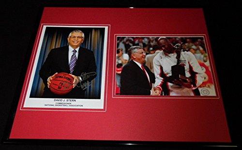 David Stern Signed Framed 16x20 Photo Display w/Michael Jordan