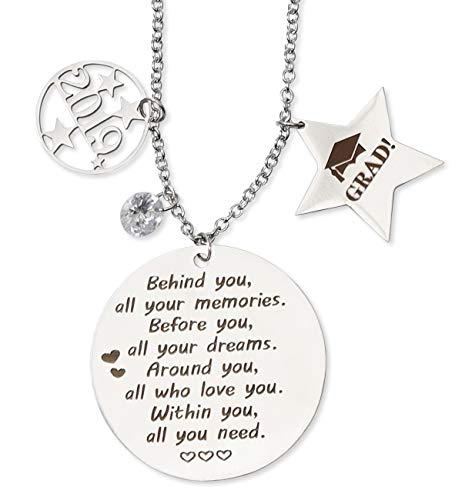 Graduation Gift Necklace 2019 - Congrats Grad Stainless Steel Jewelry Favors for Graduates