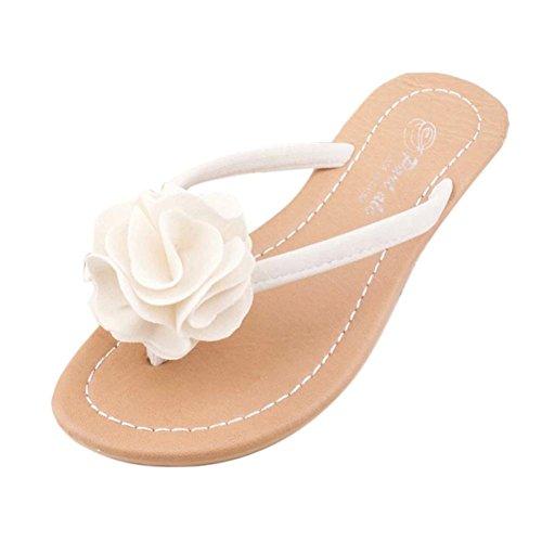 Goodsatar Mujeres Bohemia Zapatos Zapatos Plana Flor Ocio Señora Sandalias Zapatos De Playa Al Aire Libre Blanco