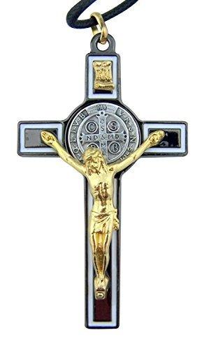L&M Black Enamel Gold Tone Saint Benedict Icon Cross Crucifix Pendant, 3 Inch