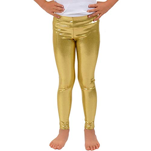 - Loxdonz Girls Shiny Wet Look Leggings Kids Liquid Metallic Dance Footless Tights (11-12 Years, Gold)