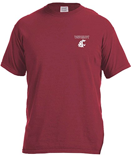 NCAA Washington State Cougars Simple Circle Comfort Color Short Sleeve T-Shirt, Chili,Small (State University Washington Jersey)