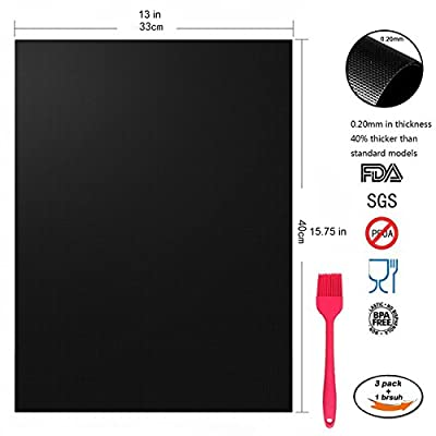 GO HAND BBQ Grill Mats Set of 3 Barbecue Mat and a Brush Non-Stick Heavy Duty Reusable and Easy to Clean Home Outdoors FDA-Approved PFOA Works on Gas Charcoal Electric Grill with Size 13x15.75 Inch from GO HAND