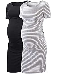 322044d0e1b Women s Maternity Bodycon Ruched Side Dress Casual Short   3 4 Sleeve Dress  For Daily