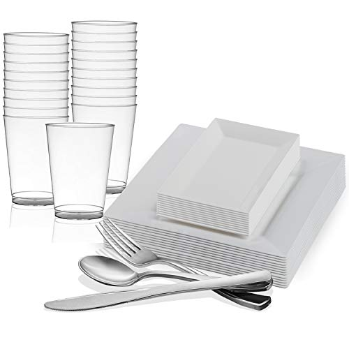 Disposable Plastic Dinnerware Set for 60 Guests - Includes Fancy Square White Dinner Plates, Rectangle Dessert/Salad Plates, Silverware Set/Cutlery & Cups For Wedding, Birthday Party & Other Occasions