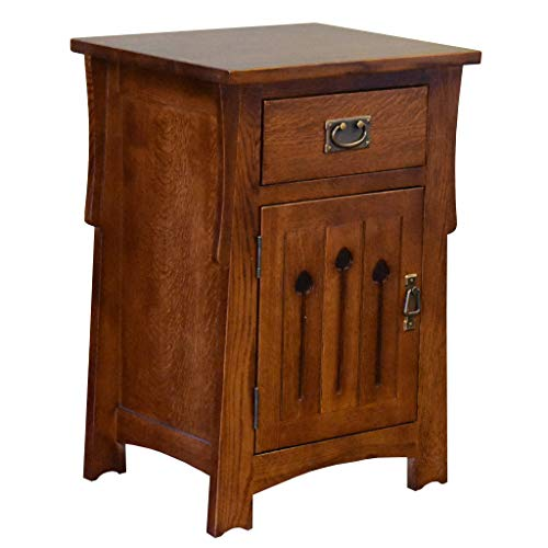 Crafters and Weavers Mission Style Solid Quarter Sawn Oak Keyhole Nightstand - Model A26 (Weavers Furniture Amish)