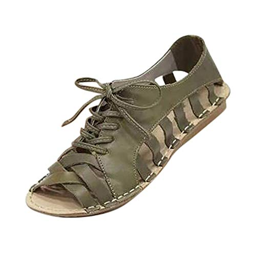 JUSTWIN Women Summer Casual Large Size Open Peep Toe Lace Up Hallow Out Neutral Flat Retro Vintage Classic Shoes Green