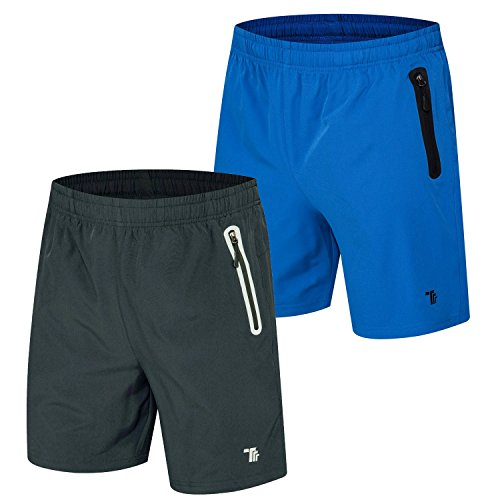TBMPOY Mens 2 Pack Outdoor Casual Reflective Athletic Hiking Shorts(05,Dark Grey+Color Blue,us S)