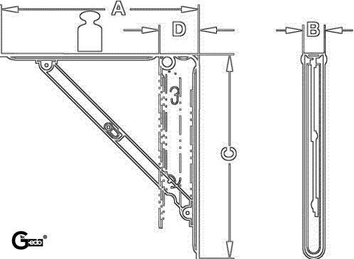 85 kg // 320 x 310 mm braun beschichtet /Équerre pliante pour gedotec /® klappentr/äger klappenst/ütze sTANDARD lINE//3//2 tailles et couleurs charge maximale