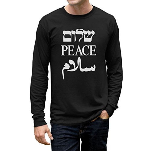 TeeStars Shalom Peace Salaam Middle East English Hebrew Arabic Long Sleeve T-Shirt Large Black (Hebrew Long Sleeve T-shirt)
