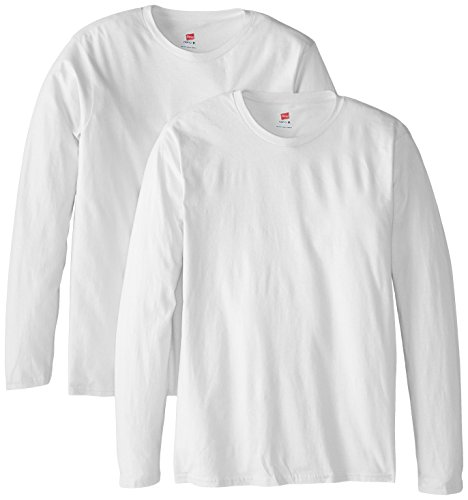Hanes Men's Long Sleeve Nano Cotton Premium T-Shirt (Pack of 2), White, Small