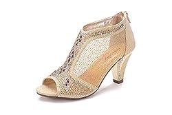 Lexie Crystal Peep Toe Gold Low Heels Shoe