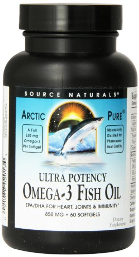Source Naturals ArcticPure Ultra Potency Omega-3 Fish Oil 850mg, EPA/DHA For Heart, Joints & Immunity , 60 Softgels