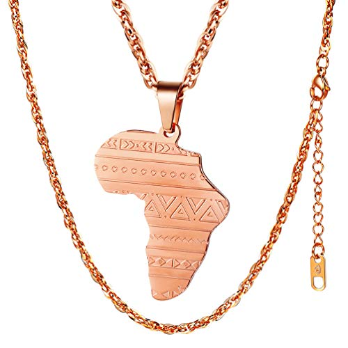 (PROSTEEL Africa Map Jewelry Rose Gold Plated Stainless Steel Pendant & Chain Men Women Gift Ethiopian African Friendship Necklace)