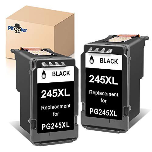 Pitooler Remanufactured Ink Cartridge Replacement for Canon PG-245XL 245 XL PG-243 Black Use with Pixma MG3022 MG2522 TR4520 TR4522 MG2922 MG2920 TS202 MX492 MX490 iP2820 TS302 MG2520 Printer, 2-Pack