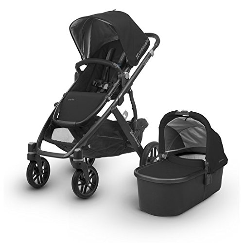 UPPAbaby VISTA Stroller, Black/Carbon/Leather, Jake