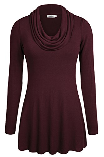 Ninedaily Women Tops Long Sleeve Cowl Neck Tunic Blouse