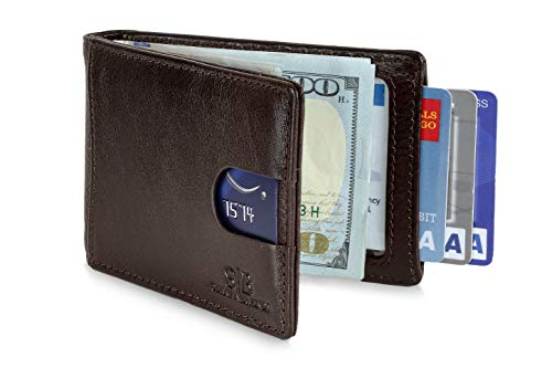 Travel Wallet RFID Blocking Bifold Slim Genuine Leather Thin Minimalist Front Pocket Wallets for Men with Money Clip - Made From Full Grain Leather (Chocolate 1.0) ()