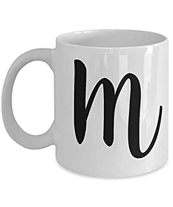 Amazoncom initial mug letter m monogram cute novelty for Monogram letters for cups