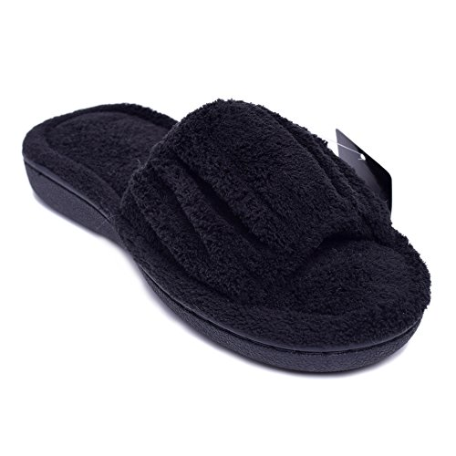 House Open Memory Womens Plush Foam Flip Toe Slide Slippers Slippers ExtraComfort Black Flop BaqAFxwgqy