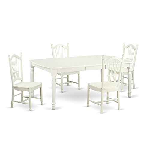 East West Furniture DOVE5-LWH-W 5 Piece Kitchen Dinette Table and 4 Dining Chairs Set