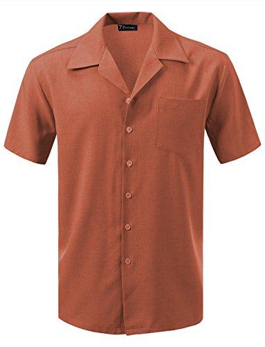 (7 Encounter Men's Camp Dress Shirt Rust Size S)