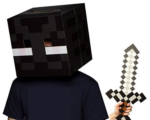 Official Minecraft Enderman Head with Foam Sword Costume Set