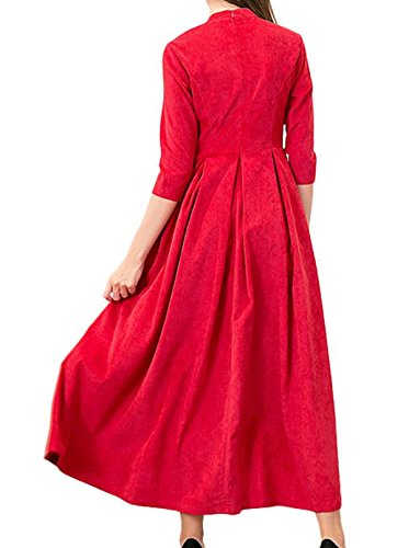 Domple Neck With Round Women 4 3 Red Sleeve Dress Long Pocket Swing Pleated wrwUCqT