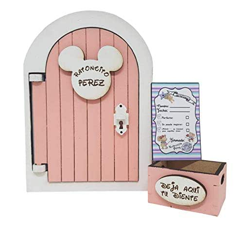 Puerta Ratoncito Pérez que se abre rosa,con cajita y carta