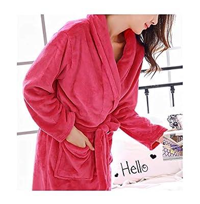 FEMAROLY Classic Soft Warm Robe Long Flannel Nightgown Sleepwear Bathrobe for Women