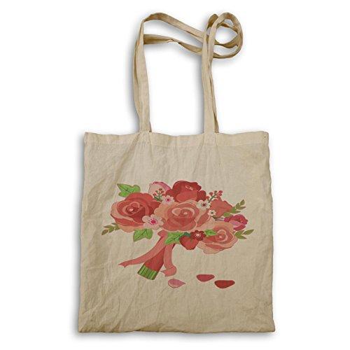 Just Married Blumen lustige Liebe Pink Tragetasche d725r