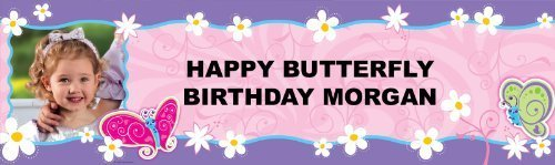 Birthday Express Flutterby Butterfly Personalized Photo Banner