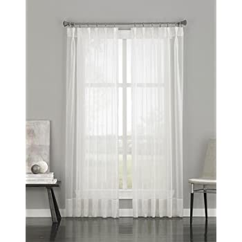 voile sheer pinch pleat curtain panel oyster curtains for patio doors diy faux hooks amazon