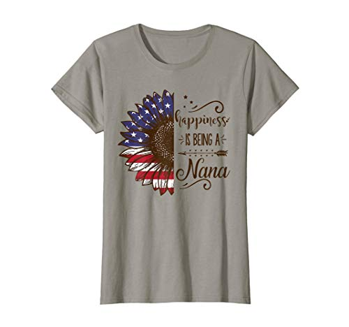 Womens Happiness is being a Nana - SunFlower Flag America T-Shirt (Happiness Womens Pink T-shirt)