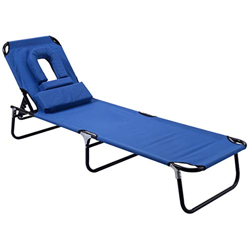 GYMAX Lounge Chair Folding Patio Lounge Chaise Chair Adjustable Beach Chair Recliner with Hole for Face, Perfect for Outdoor Backyard Patio Beach Pool