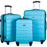 Merax 3 Pcs Luggage Set Expandable Hardside Lightweight Spinner Suitcase (Sky Blue)