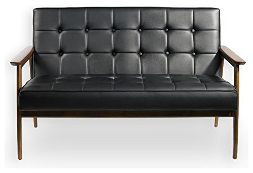 Urbanica Modern Synthetic PU Black Leather Sofa, Black Sofa