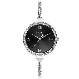 Bracelet Watch for Women Waterproof Quartz Trend Watch Crystal Rhinestone Jewelry Watch for Girls - BZ2704 (Black)