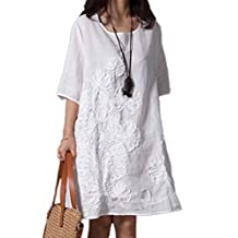 Women Short Sleeve Embroider Casual Cotton Linen Swing Tunic Dress Plus Size