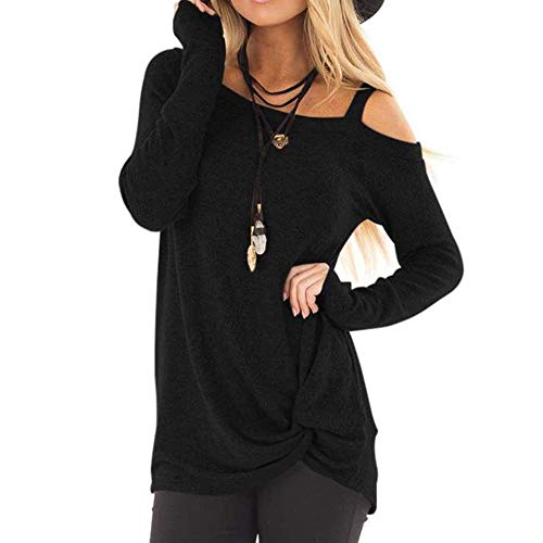 COPPEN Womens T-Shirt Casual Soft Long Sleeves O Neck Knot Side Twist Blouse Top Black