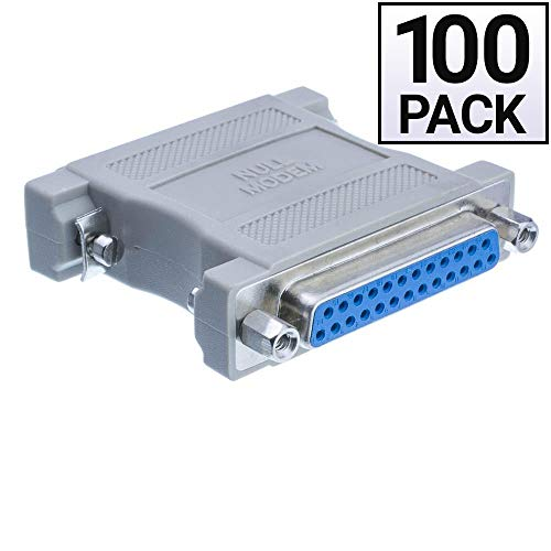 GOWOS (100 Pack) Null Modem Adapter, DB25 Male to DB25 Female